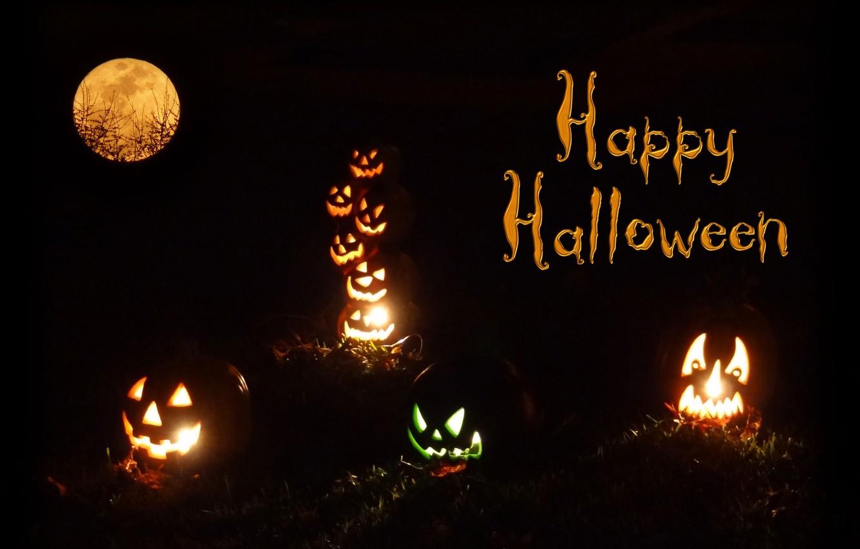 Фото обои свет, ночь, огни, огонь, луна, тыква, хэллоуин