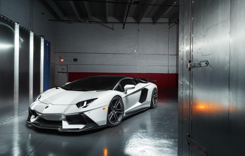Фото обои Lamborghini, White, LP700-4, Aventador, Supercar, Wheels, ADV.1, PML 2