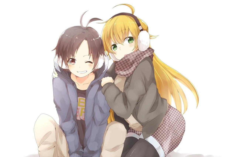 Фото обои улыбка, настроение, аниме, наушники, арт, девочка, парень
