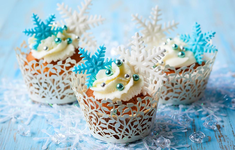 Фото обои зима, снежинки, еда, торт, cake, крем, десерт, food, winter, сладкое, sweet, cupcake, кексы, cream, dessert, …