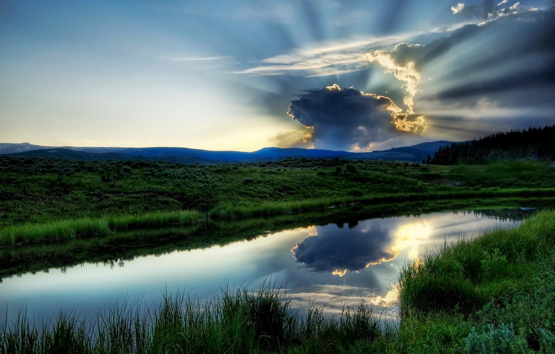 Фото обои зелень, небо, вода, пейзаж, озеро, река