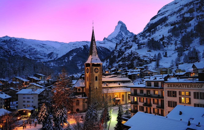 Обои швейцария, swiss alps, zermatt, долина, дома, альпы. Пейзажи foto 9