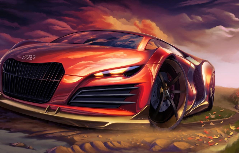 Фото обои красный, Audi, арт, суперкар, автомобиль, спортивный, тюнинг.