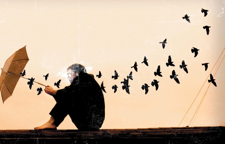 Фото обои грусть, птицы, лицо, фон, обои, зонт, арт, парень, картинка
