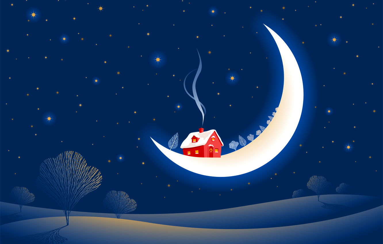 Фото обои зима, снег, деревья, дым, звёзды, месяц, домик, сказочно