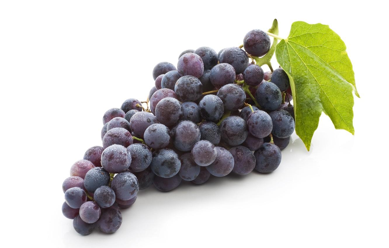 Фото обои leaves, fruit, bunch of grapes