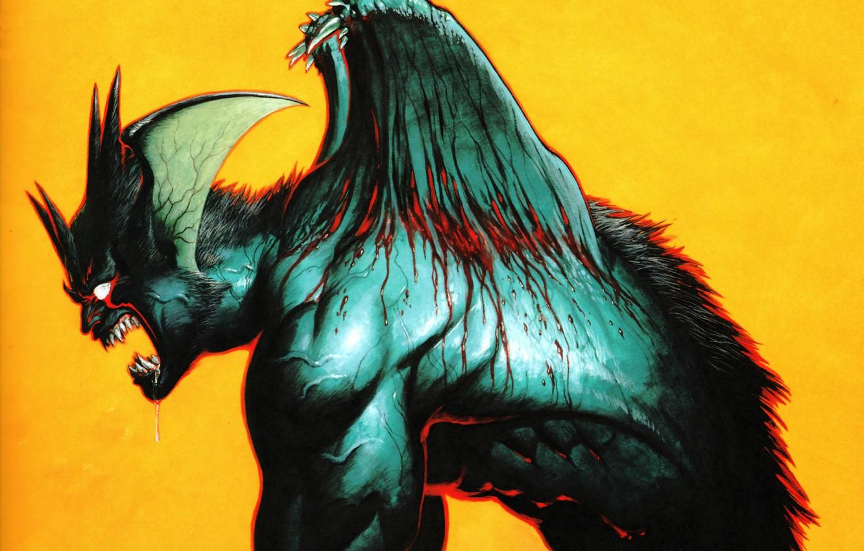 Фото обои шерсть, пасть, дьявол, Devilman, проклятие, кровавые слёзы, by Go Nagai