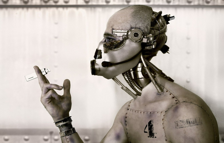 Фото обои robot, usb, hand, iron, wire, head