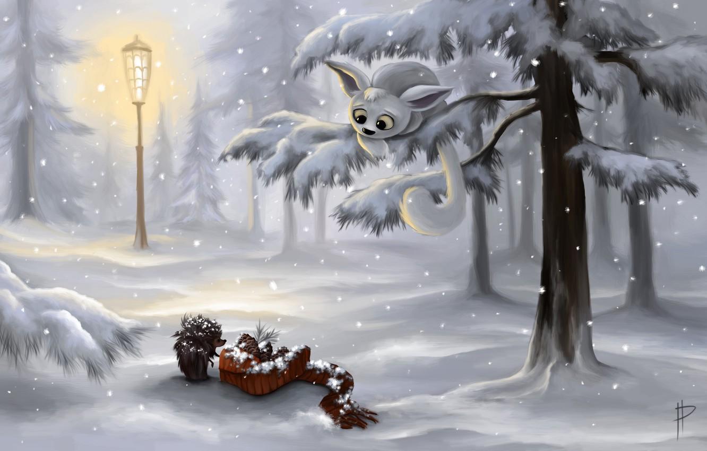 Фото обои зима, лес, снег, деревья, арт, фонарь, шишки, ёжик
