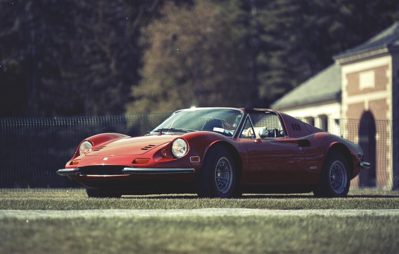Фото обои красный, Ferrari, феррари, дино, Dino, 246, GT red