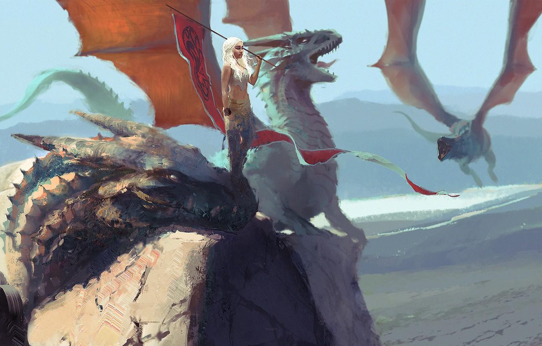 Обои background, tv series, daenerys targaryen, vintage, Game of thrones, minimalism, pinup models, Pinup, dragon, fantasy. Минимализм foto 13
