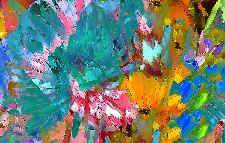 Фото обои линии, цветы, природа, краски