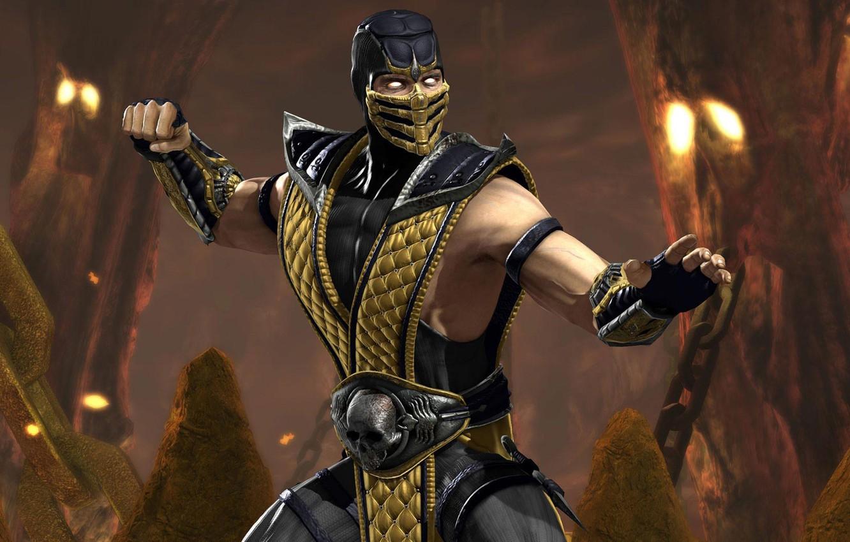 Фото обои ниндзя, Scorpion, mortal kombat