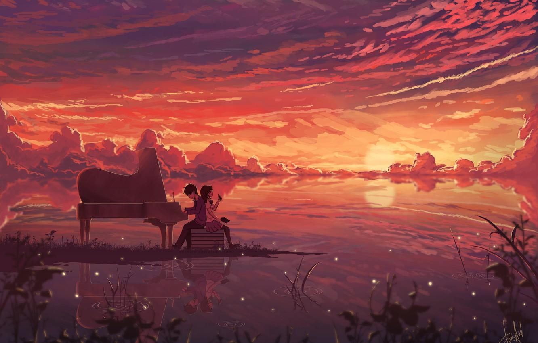 Фото обои небо, девушка, облака, закат, светлячки, аниме, наушники, рояль, арт, парень, тетрадь, dias mardianto, donsaid