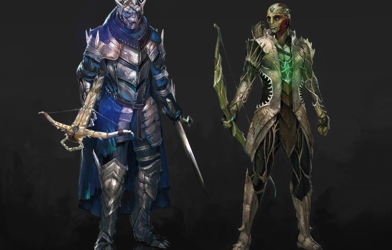 Фото обои меч, лук, sword, Assassin, mass effect, art, bow, Garrus Vakarian, Thane Krios, Turian Agent, crossbow, …