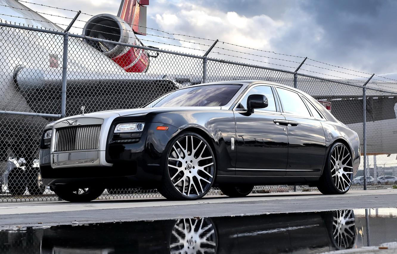 Фото обои wheels, Rolls Royce, Ghost, with, Forgiato