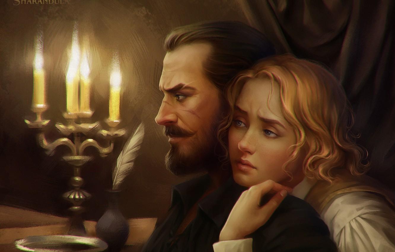 Фото обои взгляд, девушка, перо, свечи, арт, профиль, мужчина