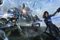 Картинка оружие, арт, Salvador Trakal, эшли, javik, явик, битва, Mass Effect, shepard, броня, ashley, скалы, выстрелы