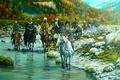 Картинка казаки, Андрей Лях, река, арт