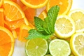 Картинка свежесть., лимон, апельсин, еда, лайм, мята