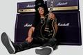 Картинка Guns N' Roses, Marshall, кеды, Gibson Les Paul, рок, электрогитара, музыкант, Slash, музыка, очки, гитара