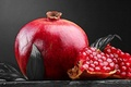 Картинка fruit, red, Pomegranate, black and white