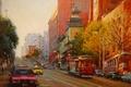 Картинка осень, закат, картина, вечер, арт, трамвай, такси, пагода, Po Pin Lin