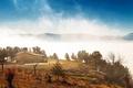 Картинка туман, дом, горы, природа