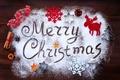 Картинка Merry Christmas, праздник, корица, снежинки, надпись