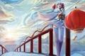 Картинка девушка, мост, арт, фонарик, фонарь, перила, храм, кимоно, vocaloid, hatsune miku