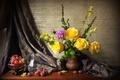 Картинка Розы, Кувшин, Натюрморт, Ваза, фото, Цветы, Виноград