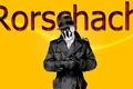 Картинка супрегерои, хранители, Роршах, маска, Watchmen, желтый фон, Rorschach