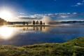 Картинка Yellowstone National Park, сша, туман, деревья, облака, рассвет, небо, река, лес