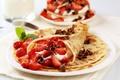 Картинка fruit, cream, food, dessert, mint, десерты, ягоды, strawberries, крем, сладкие, pancakes, chocolate, блины, sweet, фрукты, ...