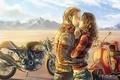 Картинка горы, скутер, парень, мотоцикл, art, рисунок, девушка, by c85, Can't stop lovin' you, объятия