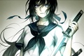 Картинка оружие, школьница, арт, tayuya1130, аниме, форма, бант, катана, девушка