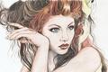 Картинка взгляд, красные, рука, живопись, лицо, прическа, волосы, макияж, кудри, губы, девушка, плечо, глаза