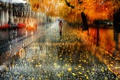 Картинка мокро, осень, девушка, капли, город, улица, листва, зонт, Питер