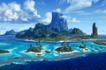 Картинка cinema, waves, wallpaper, Disney, sky, sea, landscape, nature, cloud, mountain, island, cartoon, movie, palm trees, ...