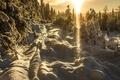 Картинка свет, снег, зима, солнце, деревья, закат