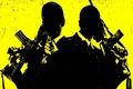 Картинка оружие, убийцы, жестокие, фильм Кейн и Линч, пухи, мужики, стволы, просто звери, автоматы, пушки, желтый ...