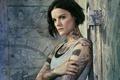 Картинка Blindspot, детектив, тату, TV Series, макияж, майка, боди-арт, татуировки, поза, Джейми Александер, рисунки, Слепая зона, ...