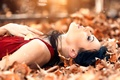 Картинка Sweet autumns dream, девушка, Alessandro Di Cicco, листья