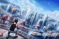 Картинка паркур, Mirror's Edge, Electronic Arts, DICE, faith, крыша, Mirror's Edge: Catalyst, art, город, девушка