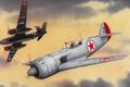 Картинка A-26 Invader, lavochkinla11, aviation, La-11, painting, war, art