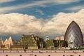 Картинка Облака, дорога, здания