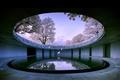 Картинка сакура, вода, здание, природа