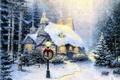Картинка ёлки, гирлянда, окна, берёзы, Thomas Kinkade, рожденственский, картина, венок, Stonehearth Hutch, зимний, каменный, живопись, коттедж, ...