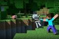 Картинка steave, зеленый, меч, Minecraft, блок, майнкрафт