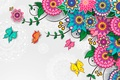 Картинка бабочки, цветы, узор